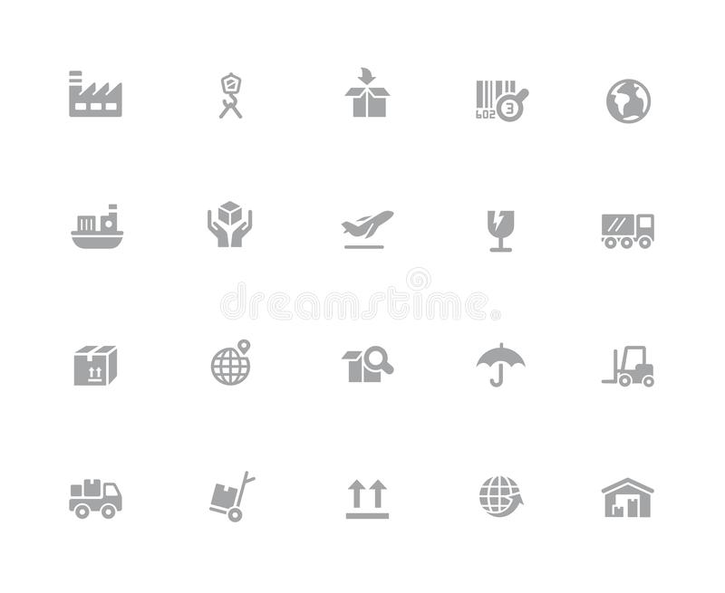 De industrie & Logistiekpictogrammen //32 Witte Reeksen van pixelpictogrammen royalty-vrije stock foto's