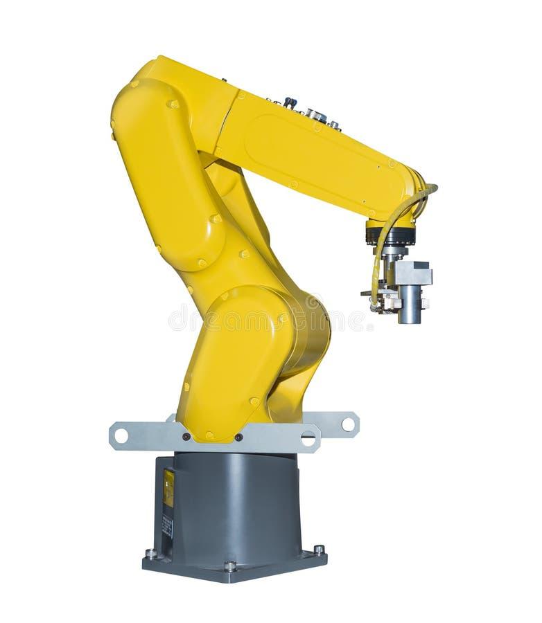 De industrie robotachtig wapen die automobieldiedeel houden op wit wordt geïsoleerd royalty-vrije stock afbeeldingen