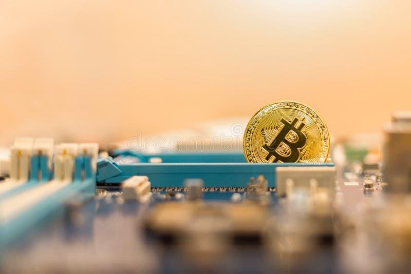 De industrie van mijnbouwcryptocurrency Bitcoin, blockchain technologie royalty-vrije stock foto's