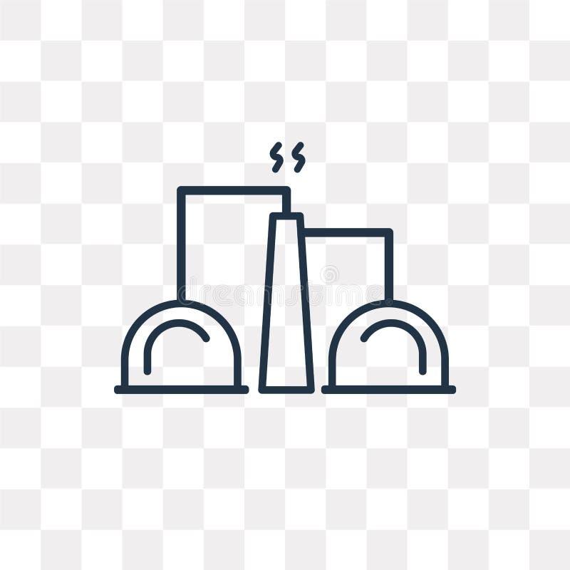 De industrie vectorpictogram op transparante lineaire achtergrond, royalty-vrije illustratie