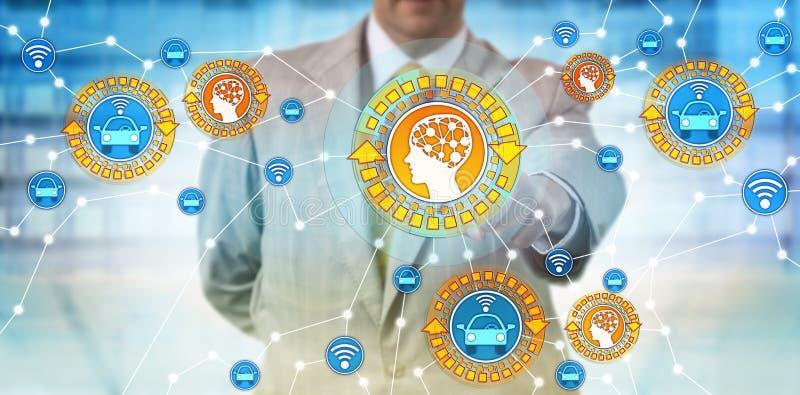 De industriemanager Connecting Autonomous Car en AI stock foto