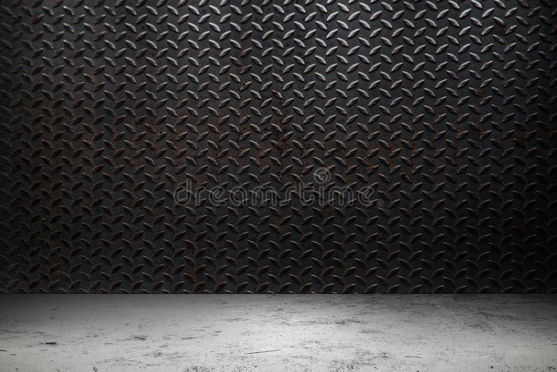 De industriemetaal met concreet vloerpakhuis stock afbeelding