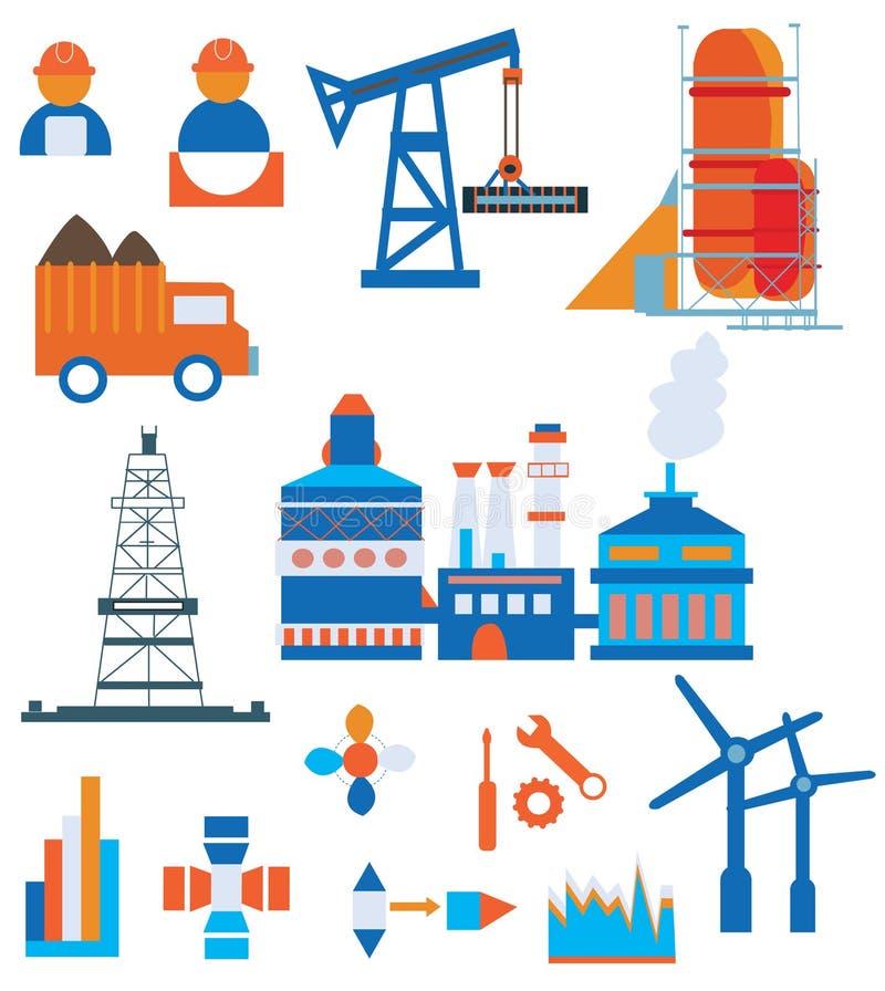 De industriepictogrammen voor infographic fabriek en arbeiders - stock illustratie