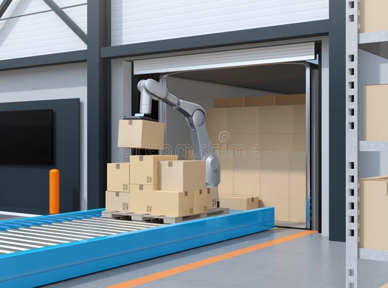 De industrierobot het plukken pakketten van de container van de vrachtwagenlading royalty-vrije stock afbeelding