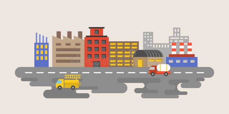 De industriestad met fabriek, het industriële vlakke ontwerp van het landgoedgebied royalty-vrije illustratie