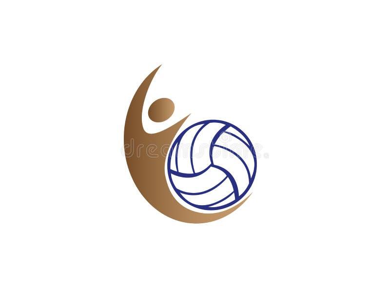 De ineenstorting van de volleyballspeler en dienende bal voor embleemontwerp royalty-vrije illustratie
