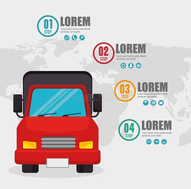 De infographic kaart van het vrachtwagenvervoer vector illustratie