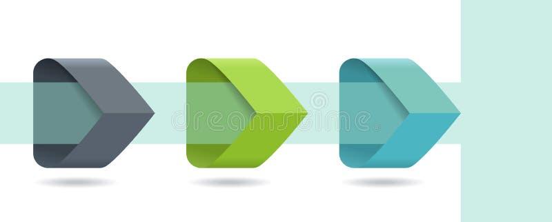 De Infographicpijlen met 3 voeren opties en glaselementen op Malplaatje in vlakke ontwerpstijl stock illustratie