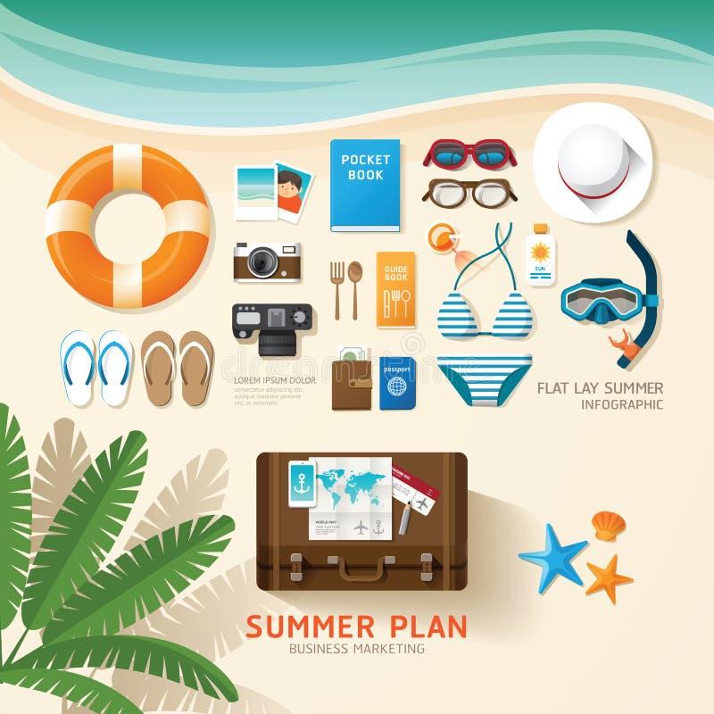 De Infographicreis die een van de de bedrijfs zomervakantie vlakte plannen lag stock illustratie