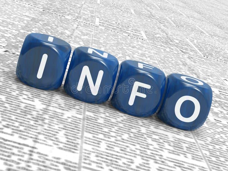De informatie dobbelt Gemiddelde Kennisgegevens en stock illustratie