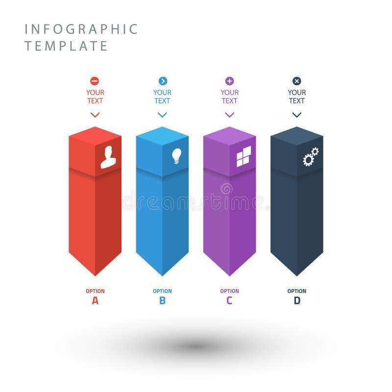 De informatie grafisch malplaatje van kleurenkubussen voor presentatie stock illustratie