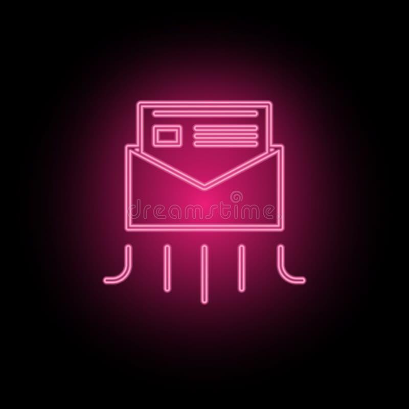 De informatie, post, het pictogram van het nieuwsneon kan worden gebruikt om onderwerpen over SEO-optimalisering, gegevensanalyti royalty-vrije illustratie