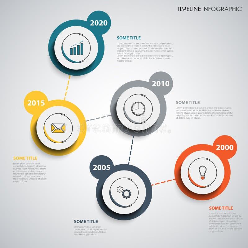 De informatie van de tijdlijn grafisch met abstract ontwerp om wijzers vector illustratie
