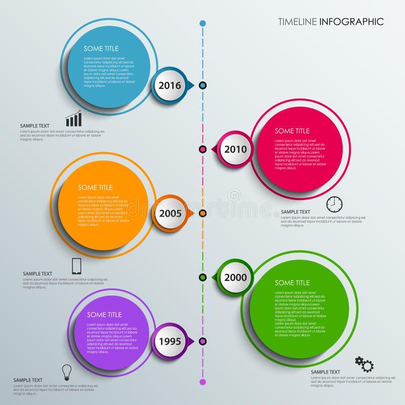 De informatie van de tijdlijn grafisch met de kleurrijke cirkels van ontwerpelementen vector illustratie