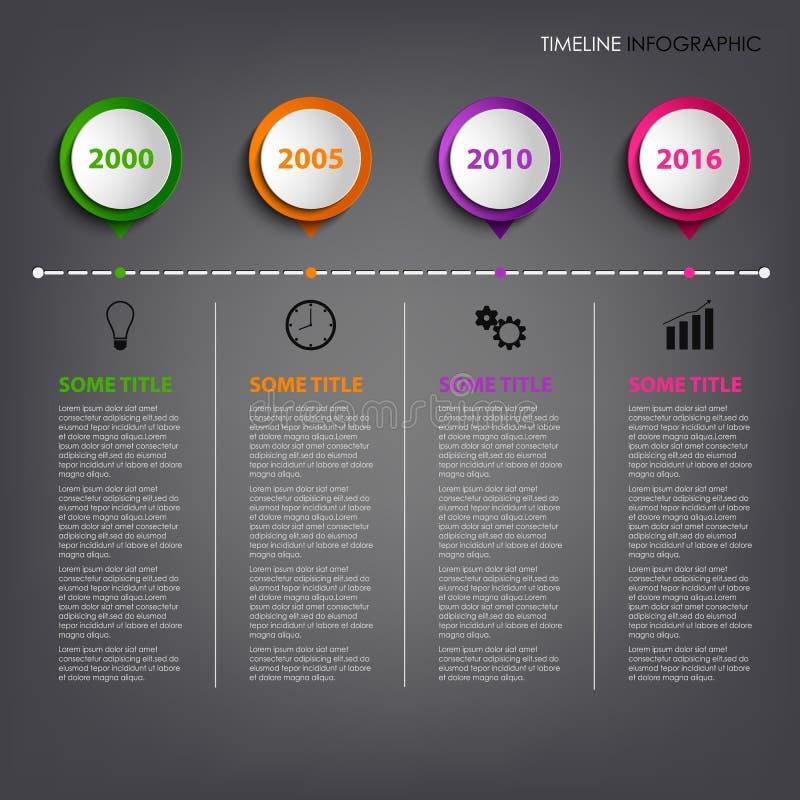 De informatie van de tijdlijn grafisch met gekleurd cirkelwijzersmalplaatje royalty-vrije illustratie