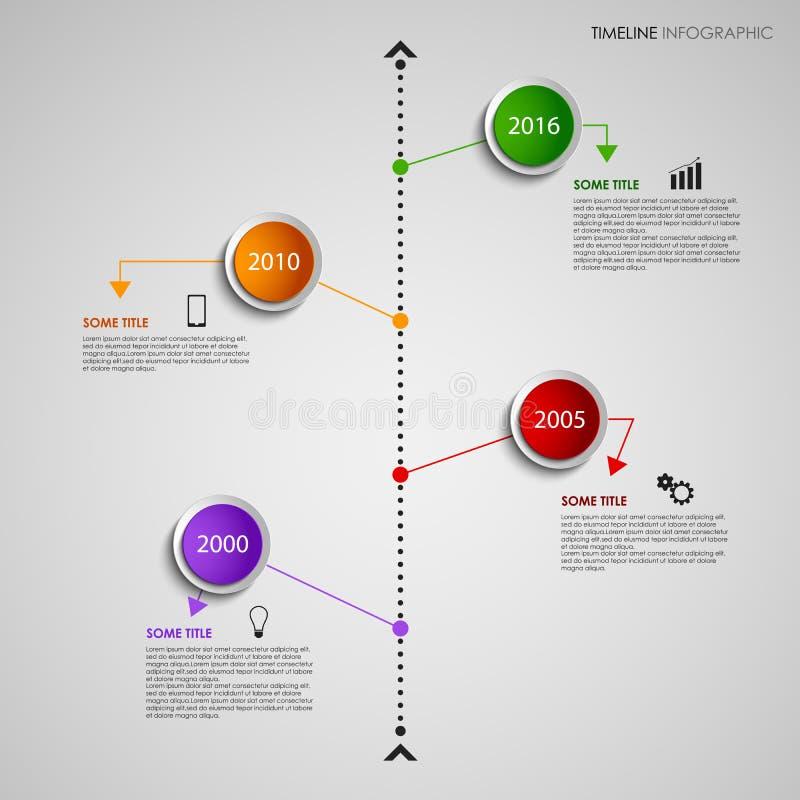 De informatie van de tijdlijn grafisch met gekleurd ontwerp om wijzersmalplaatje vector illustratie