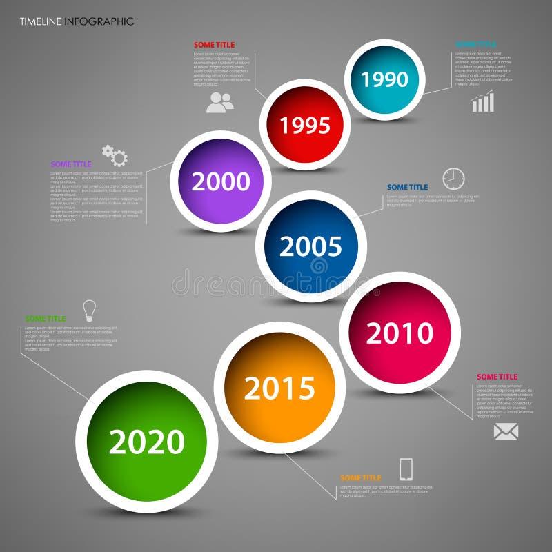 De informatie van de tijdlijn grafisch met gekleurde cirkels in rijmalplaatje vector illustratie