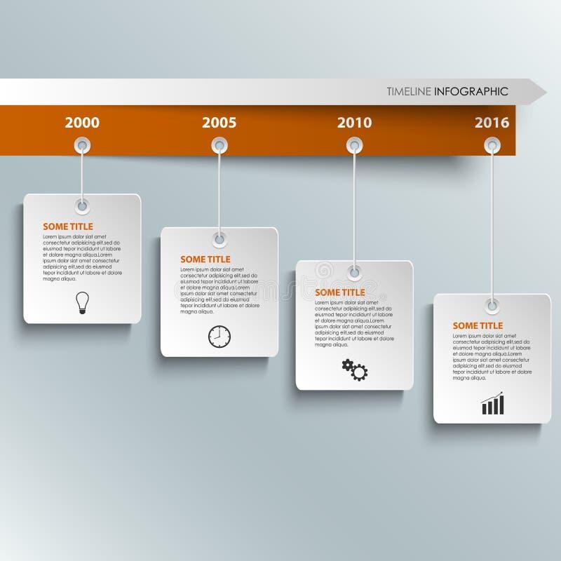 De informatie van de tijdlijn grafisch met het hangen van wit etikettenmalplaatje stock illustratie