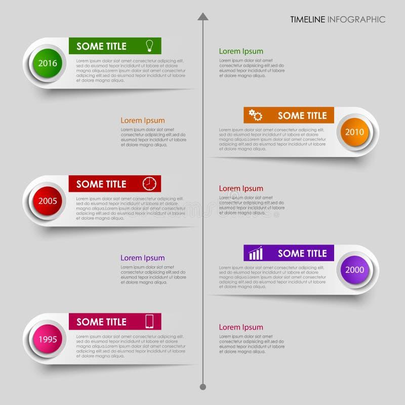 De informatie van de tijdlijn grafisch met het kleurrijke malplaatje van het etikettenontwerp stock illustratie