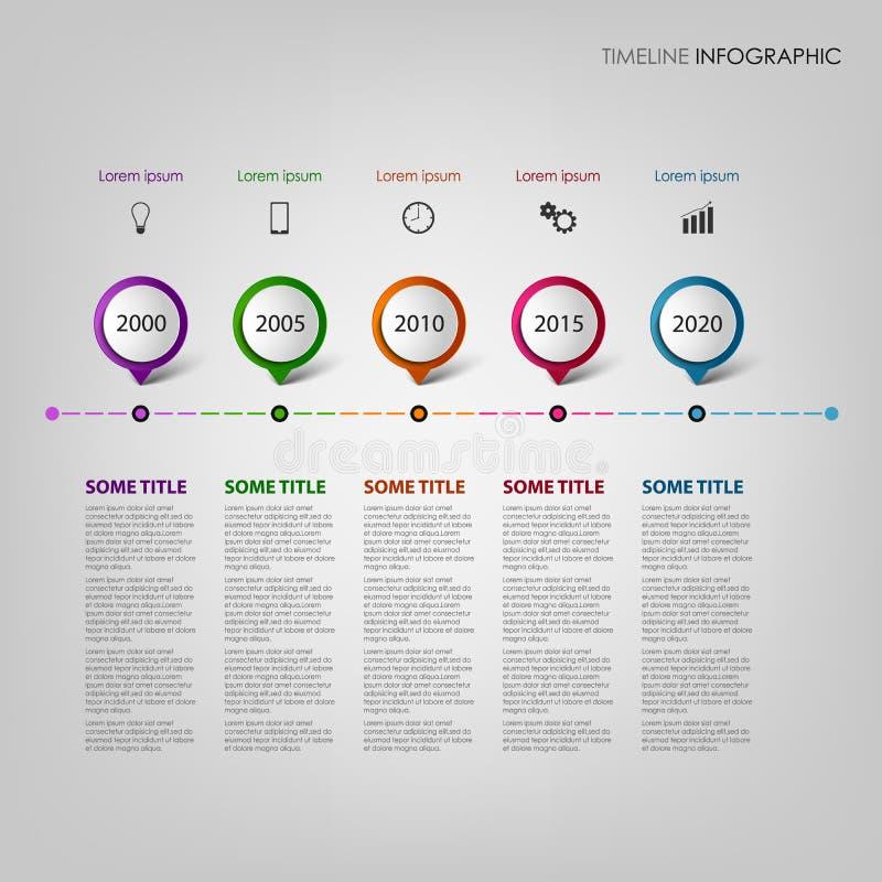 De informatie van de tijdlijn grafisch met het malplaatje van ontwerpwijzers stock illustratie