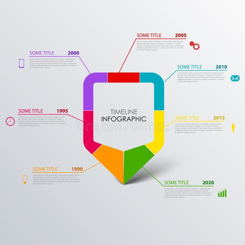 De informatie van de tijdlijn grafisch met ontwerp gekleurd wijzermalplaatje royalty-vrije illustratie