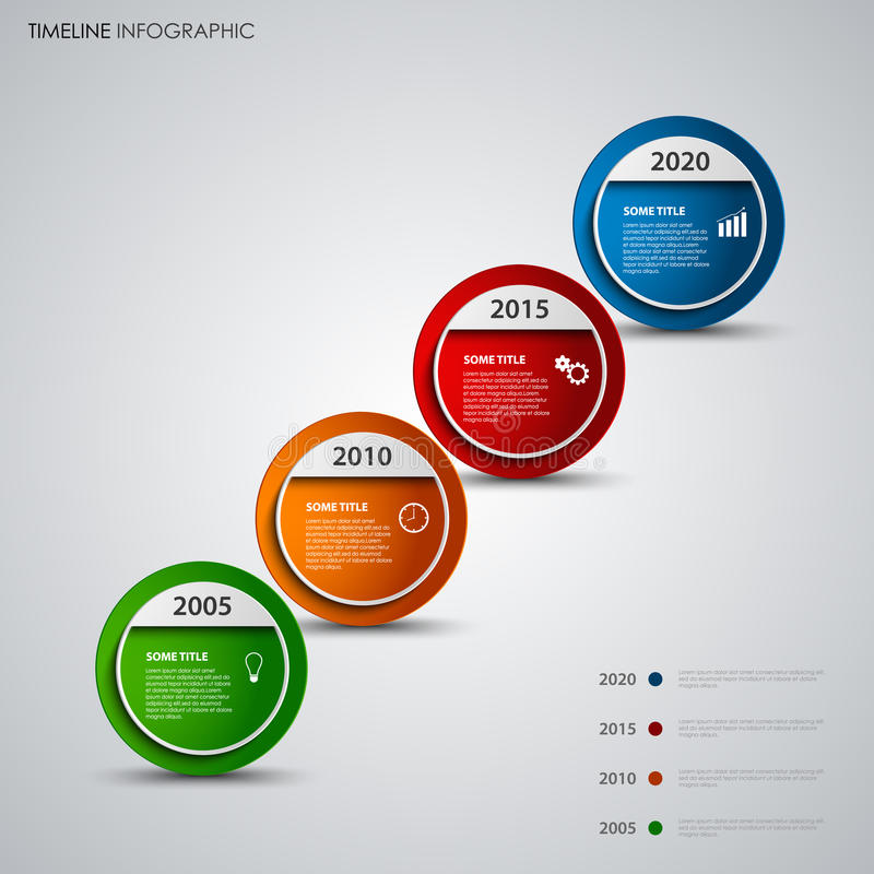 De informatie van de tijdlijn grafisch met ronde ontwerp abstracte wijzers royalty-vrije illustratie