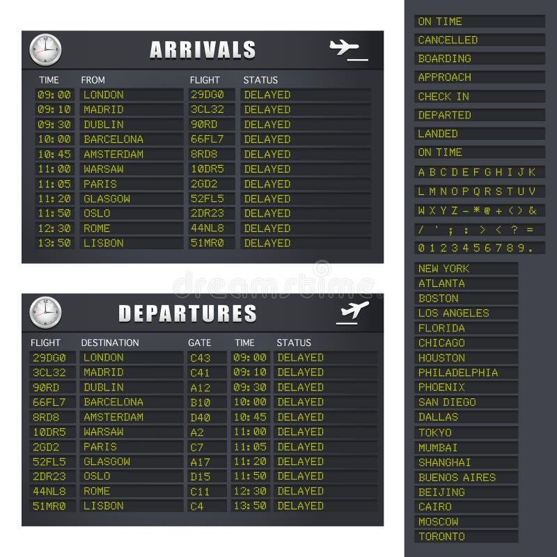 De Informatie van de vlucht - Reeks 1 - Vertraagde Vluchten vector illustratie