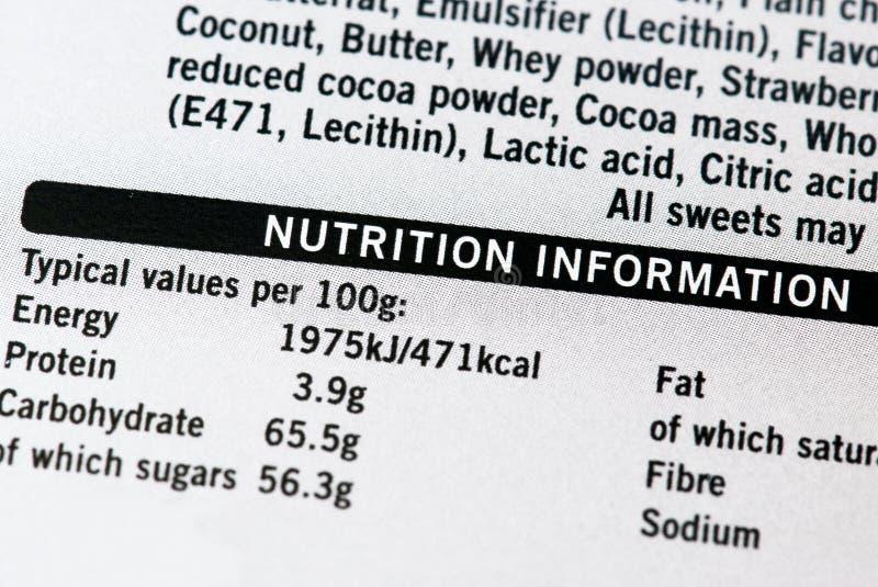 De informatie van de voeding stock fotografie