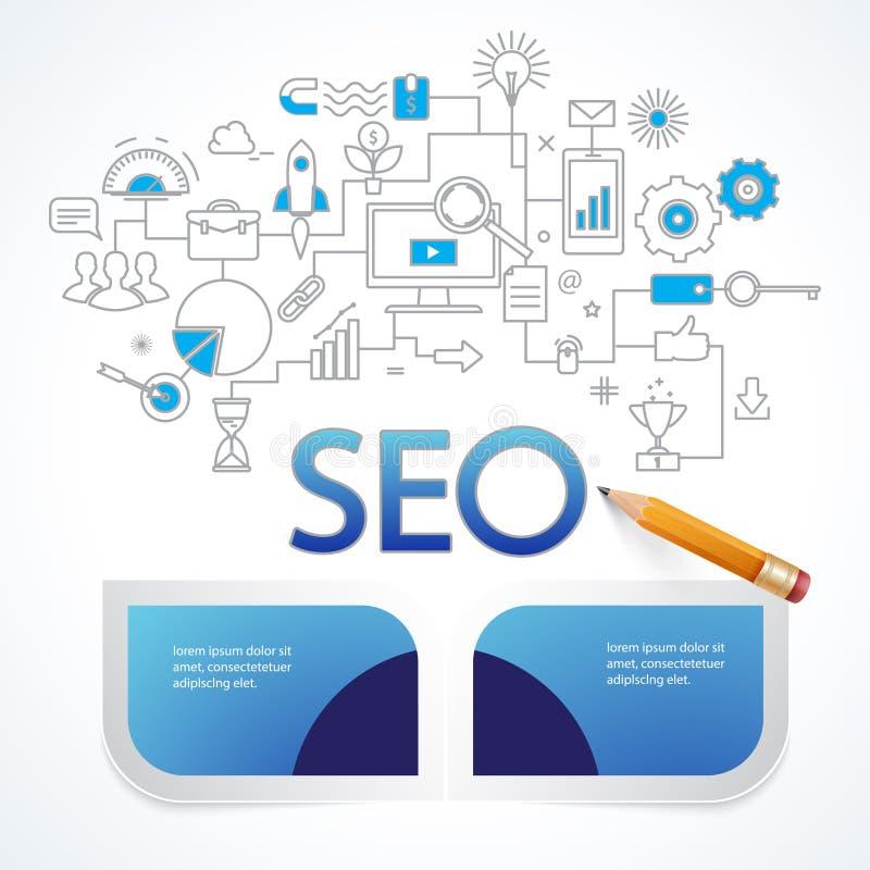 De informatie van het Analyticsonderzoek en websiteseo optimalisering vector illustratie