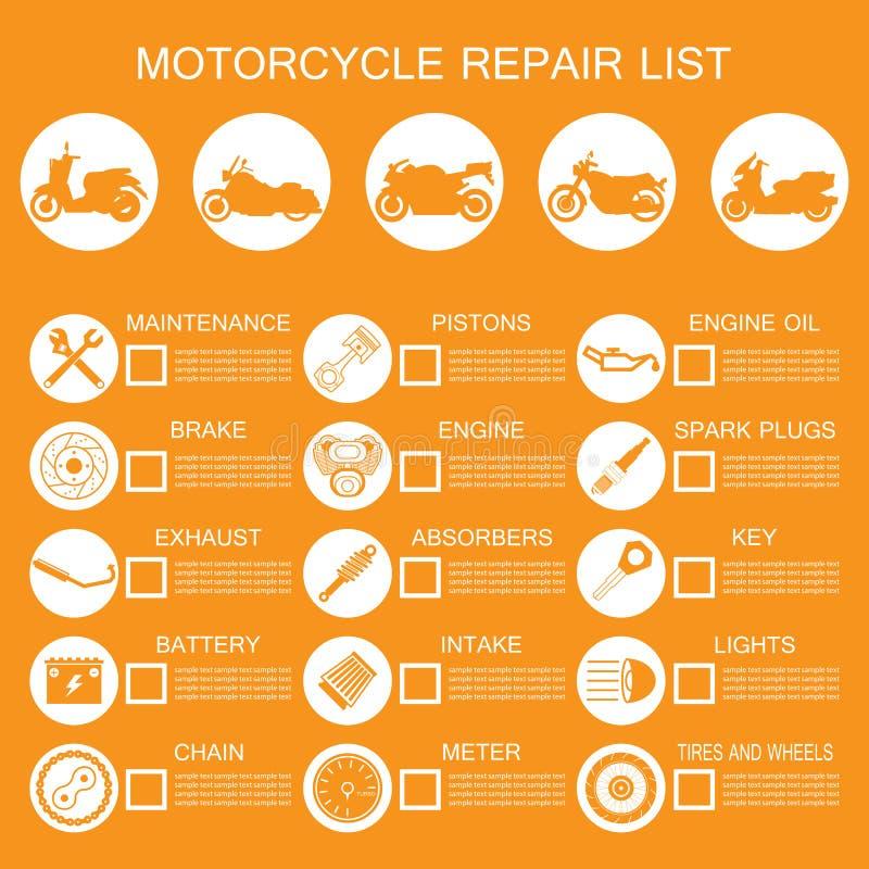 de informatie van het motorfietsdeel royalty-vrije illustratie