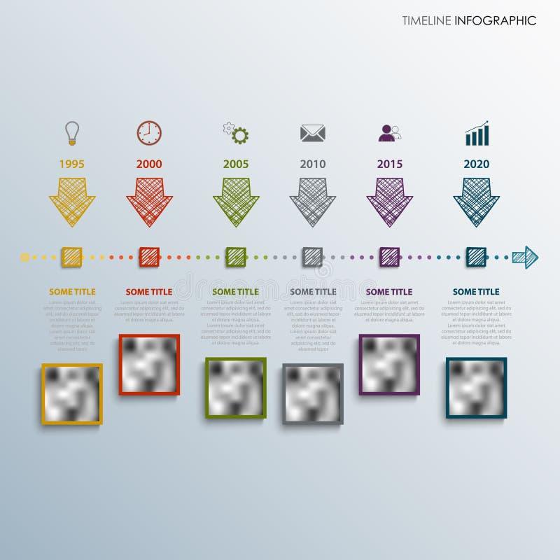 De informatie van de tijdlijn grafisch met gekleurde richtingontwerppijlen stock illustratie