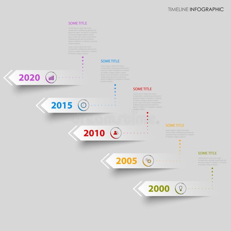 De informatie van de tijdlijn grafisch met ontwerp richtingpijlen stock illustratie