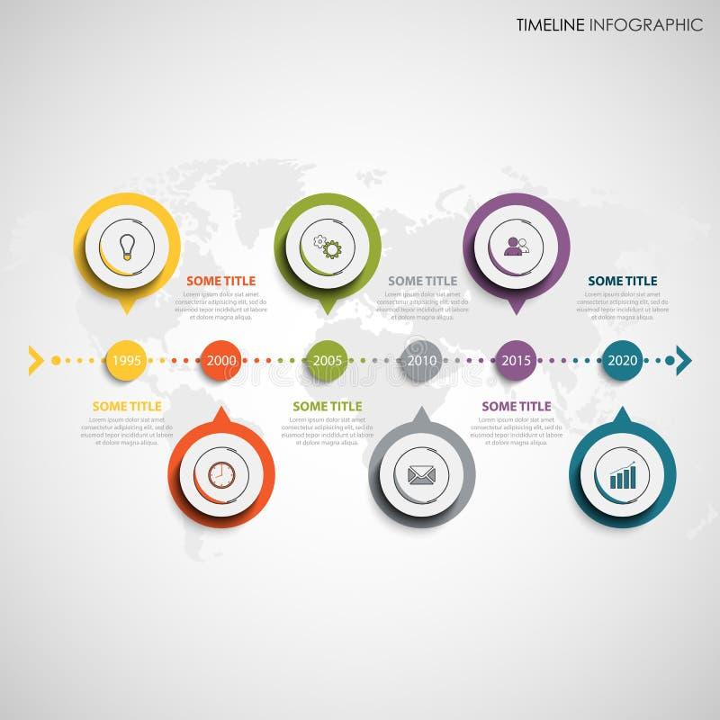 De informatie van de tijdlijn grafisch met ronde het elementenwijzers van het kleurenontwerp royalty-vrije illustratie