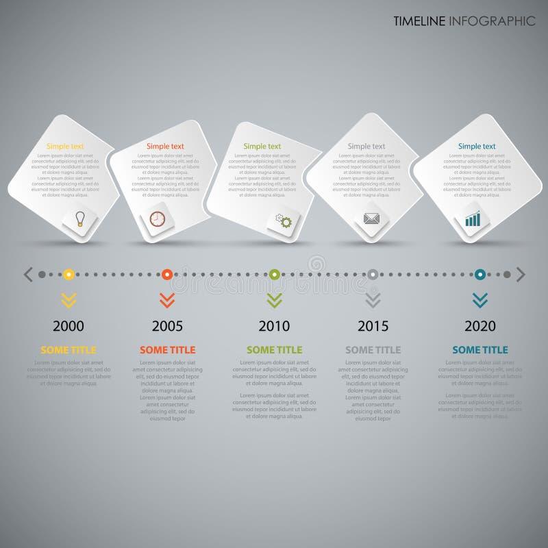 De informatie van de tijdlijn grafisch met witte abstracte ontwerpvierkanten vector illustratie
