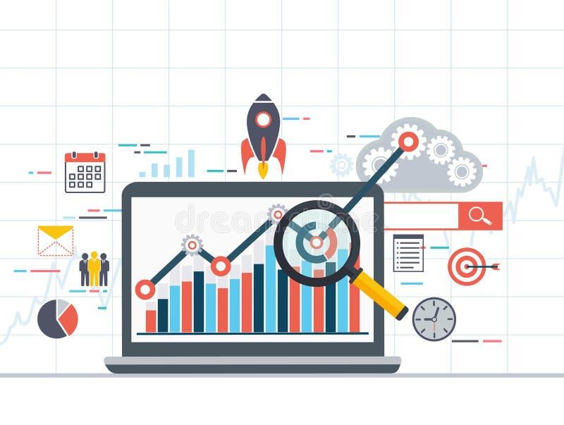 De informatie van Webanalytics en ontwikkelingsstatistiek vector illustratie