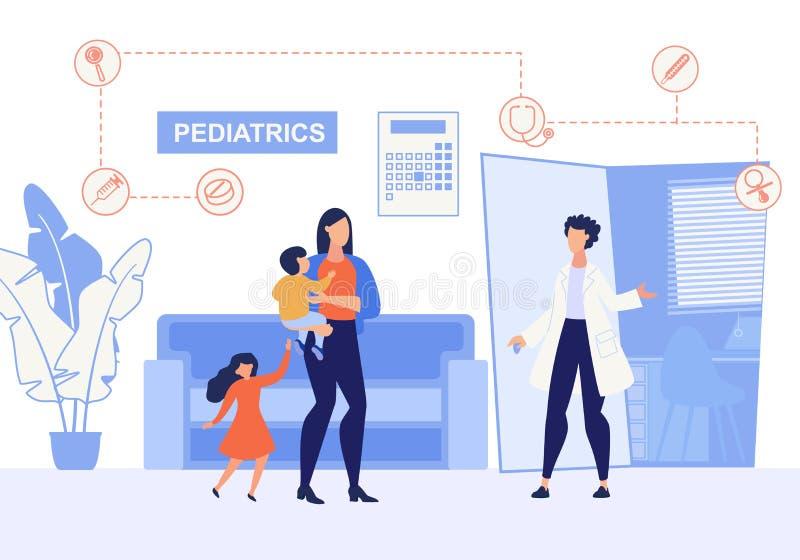 De informatie Vlakke Pediatrie van de Afficheinschrijving stock illustratie