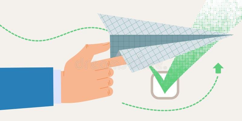 De informatie Vlakke Informatie van de Bannergoedkeuring vector illustratie