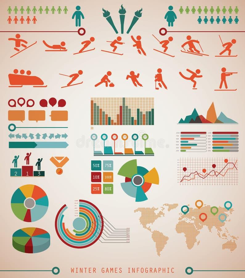 De Informatiegrafiek van wintersportenspelen vector illustratie