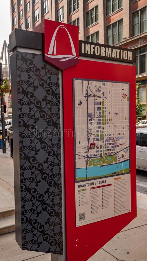De de informatiekaart van de binnenstad van St.Louis - ST LOUIS, DE V.S. - 19 JUNI, 2019 royalty-vrije stock foto's