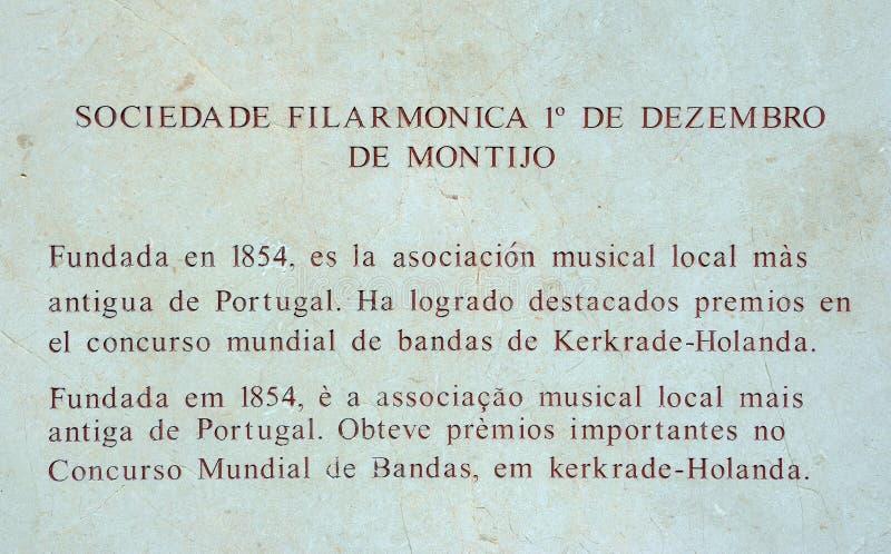 De informatieteken van de Philamonicmaatschappij, Ayamonte stock afbeelding