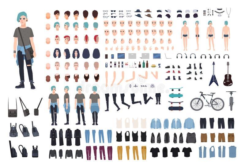 De informele aannemer van het tienerkarakter Punkverwezenlijkingsreeks Verschillende houdingen, kapsel, gezicht, benen, handen, k royalty-vrije illustratie
