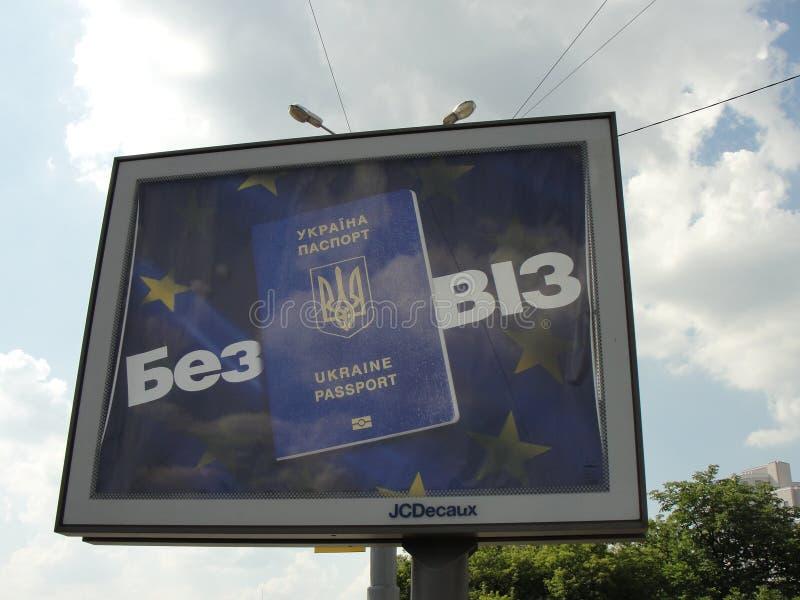 De ingang aan Europa - visum-vrij regime voor de Oekraïne stock afbeelding