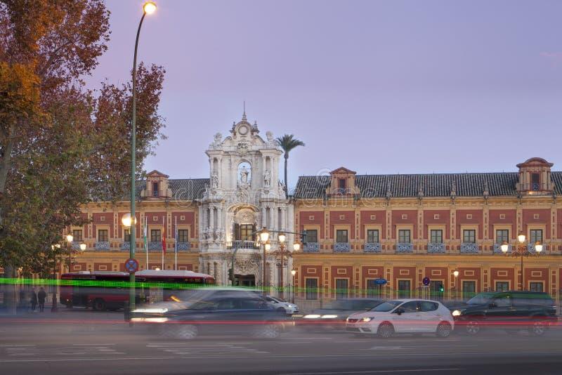 De ingang aan het paleis van San Telmo in Sevilla royalty-vrije stock fotografie