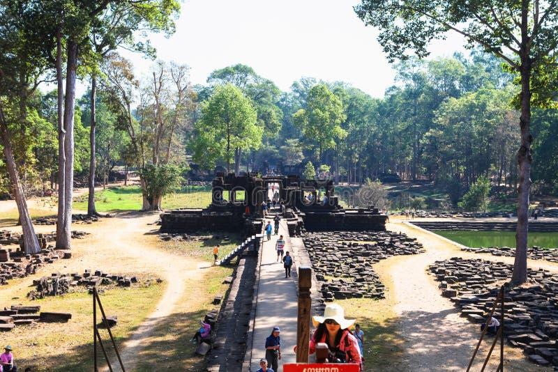 De ingang aan de oude tempel van Preah Khan in het verbazen Angkor, Siem oogst, Kambodja royalty-vrije stock foto