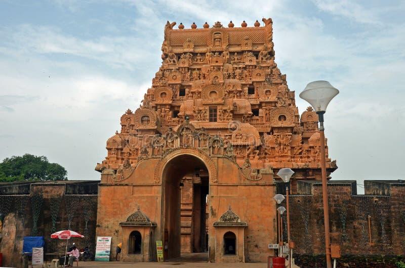 De Ingang van de Brihadeeswaratempel, Thanjavur stock afbeeldingen
