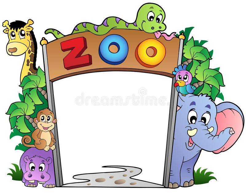 De ingang van de dierentuin met diverse dieren royalty-vrije illustratie