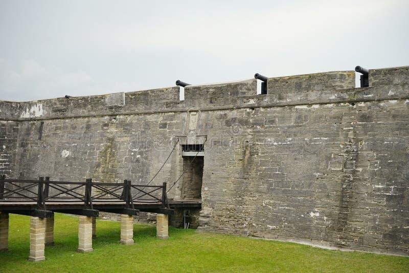De ingang van het Fort Castillo DE San Marcos stock afbeeldingen