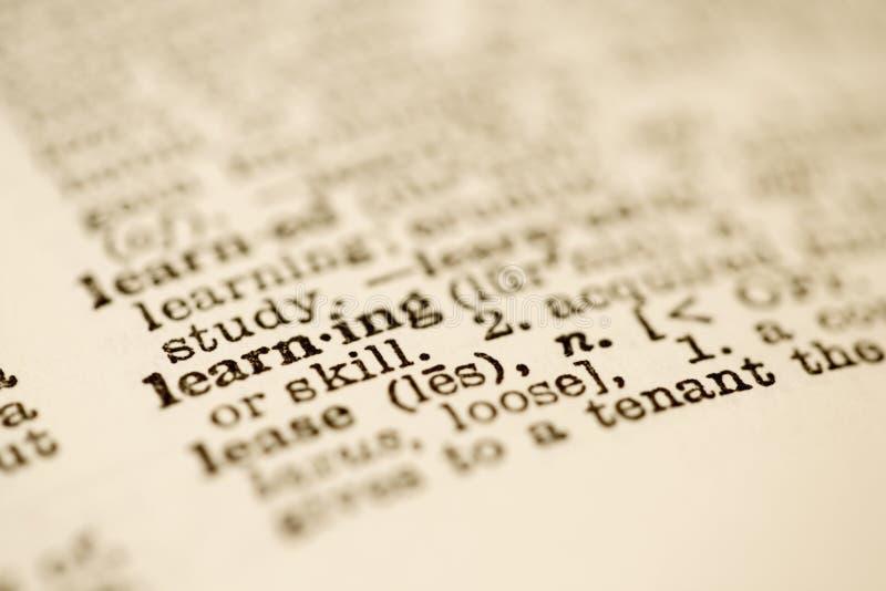 De ingang van het woordenboek voor het leren. stock foto's