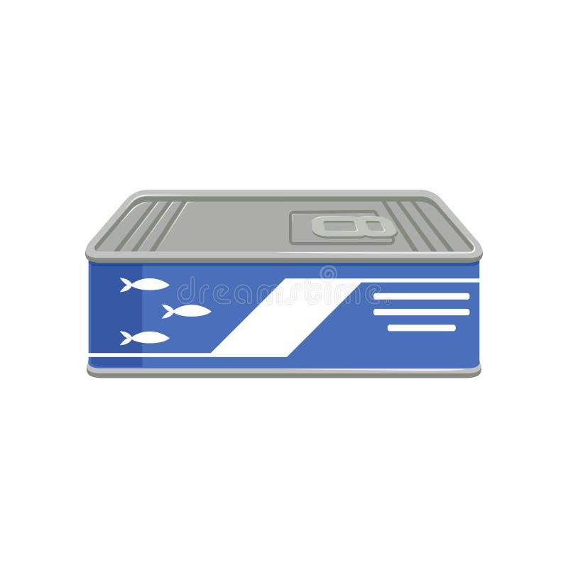 De ingeblikte sardines of sprotvissen kunnen binnen met ring-trekkracht Concept behouden voedsel Geïsoleerd vlak vectorontwerp vo vector illustratie