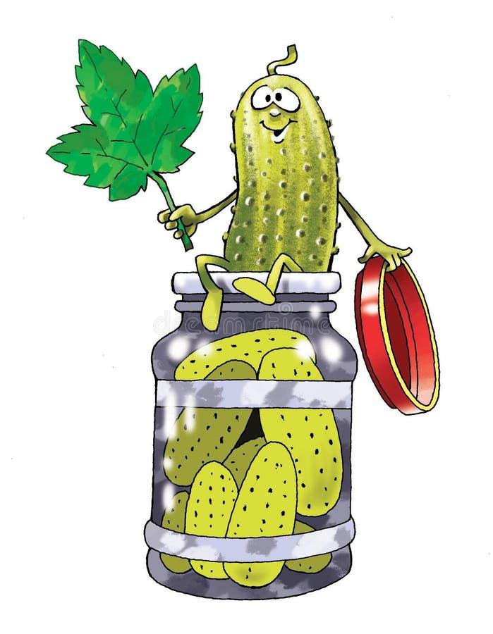De ingelegde komkommer legde ingeblikt voedselbeeldverhaal in stock illustratie